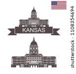 state of kansas. kansas state... | Shutterstock .eps vector #1108354694