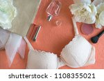 woman's beauty products and bra ... | Shutterstock . vector #1108355021