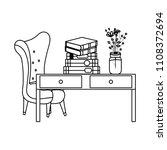 line books and flowers vase on... | Shutterstock .eps vector #1108372694