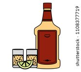 color tequila liquor bottle and ...   Shutterstock .eps vector #1108377719