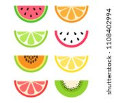 set of citrus and exotic ... | Shutterstock .eps vector #1108402994