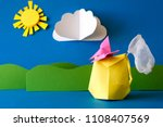 paper backpack with butterfly... | Shutterstock . vector #1108407569