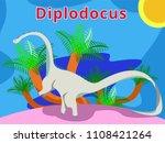 cute dinosaur dipolodocus.flat...   Shutterstock .eps vector #1108421264
