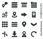 black vector icon set route...