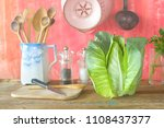 sweetheart cabbage and kitchen... | Shutterstock . vector #1108437377