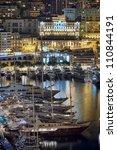 Monte Carlo port, Monaco  night scene - stock photo