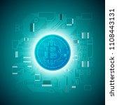 hud golden bitcoin. digital... | Shutterstock .eps vector #1108443131