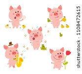 vector pink piggy. cartoon... | Shutterstock .eps vector #1108472615