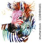 Zebra Illustration With Splash...