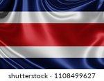 costa rica fabric flag waving...   Shutterstock . vector #1108499627