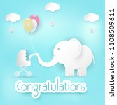 elephant and balloons with baby ... | Shutterstock .eps vector #1108509611