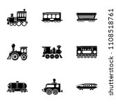 railroad car icons set. simple... | Shutterstock .eps vector #1108518761