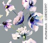 seamless wallpaper with blue... | Shutterstock . vector #1108523597