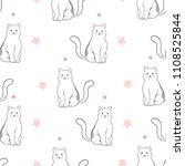hand drawn cat seamless pattern | Shutterstock .eps vector #1108525844