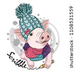vector pig with pencil  blue... | Shutterstock .eps vector #1108531559