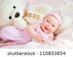 Pretty Smiling Baby Girl And...