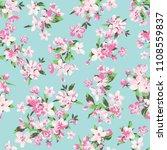 seamless vector blossom flowers ... | Shutterstock .eps vector #1108559837
