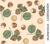 hazelnut seamless pattern.... | Shutterstock .eps vector #1108563404