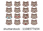 vector set of cute cartoon cat... | Shutterstock .eps vector #1108577654