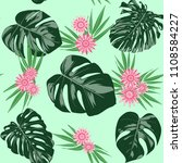 monstera leaves and ethnic... | Shutterstock .eps vector #1108584227
