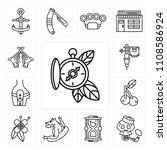 set of 13 simple editable icons ... | Shutterstock .eps vector #1108586924