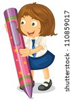 illustration of a girl with a... | Shutterstock .eps vector #110859017