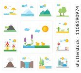 set of 13 simple editable icons ... | Shutterstock .eps vector #1108590974
