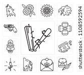 set of 13 simple editable icons ... | Shutterstock .eps vector #1108592594
