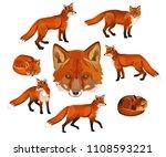 red fox set. vector... | Shutterstock .eps vector #1108593221