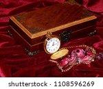 a handmade mahogany casket with ...   Shutterstock . vector #1108596269