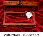 a handmade mahogany casket with ...   Shutterstock . vector #1108596275