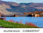 Small photo of Landscape with river and sluice on the Mosel in Germany
