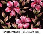 hibiscus flowers. tropical... | Shutterstock . vector #1108605401
