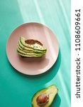 avocado on toast on a plate | Shutterstock . vector #1108609661