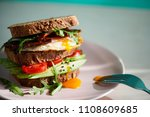 avocado on toast with eggs and... | Shutterstock . vector #1108609685