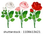 cute bouquets with roses... | Shutterstock .eps vector #1108613621