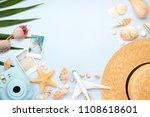 traveler accessories on trendy... | Shutterstock . vector #1108618601