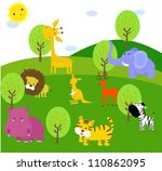 cute animal in forest | Shutterstock .eps vector #110862095