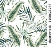 green banana  palm leaves with... | Shutterstock .eps vector #1108628294