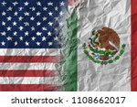 us and mexico on crumpled paper ... | Shutterstock . vector #1108662017