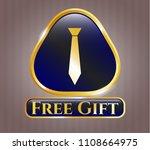 gold shiny badge with necktie... | Shutterstock .eps vector #1108664975