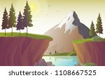 river landscape with mountain... | Shutterstock .eps vector #1108667525
