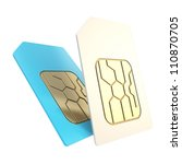 Double phone SIM cards with circuit microchips isolated on white - stock photo