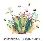 green bush with fly insect.... | Shutterstock .eps vector #1108746041