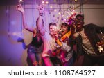 friends celebrating and playing ... | Shutterstock . vector #1108764527