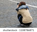 girl photographer with camera... | Shutterstock . vector #1108786871