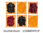 some dry biscuits with jam on a ... | Shutterstock . vector #1108804919