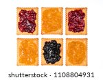 some dry biscuits with jam on a ... | Shutterstock . vector #1108804931