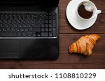hot chocolate with a croissant... | Shutterstock . vector #1108810229