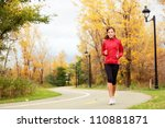 Running In Fall. Runner Woman...
